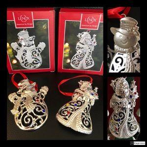 Set of Lenox gem silver tone 🎅 and ⛄️ ornaments